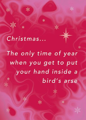 Christmas... The only time of year when you get to put your hand inside a bird's arse