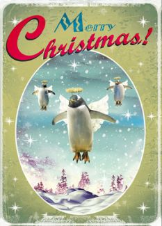 Merry Christmas 'Penguins' x 5 Pack