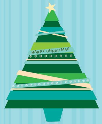 Striped Xmas Tree x 5 Cards